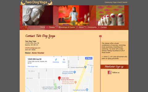 Screenshot of Contact Page Maps & Directions Page twodogyoga.com - Contact Two Dog Yoga - captured July 1, 2018
