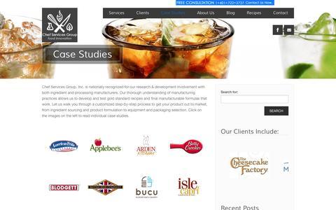 Screenshot of Case Studies Page chefservicesgroup.com - Case Studies - Restaurant Consultants | Restaurant Menu Development - Chef Services Group - captured Nov. 5, 2016