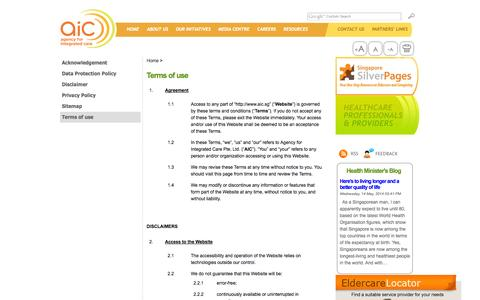 Screenshot of Privacy Page aic.sg - Terms of use - Agency for Integrated Care - captured Sept. 19, 2014