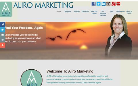 Screenshot of Home Page aliromarketing.com - Aliro Marketing -- Home - captured Sept. 30, 2014