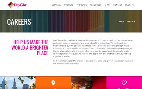 Screenshot of Jobs Page dayglo.com - DayGlo Color Corp | Career Openings - captured Nov. 13, 2018
