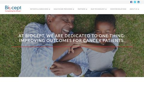 Screenshot of About Page biocept.com - About Us | Biocept - captured Oct. 5, 2018