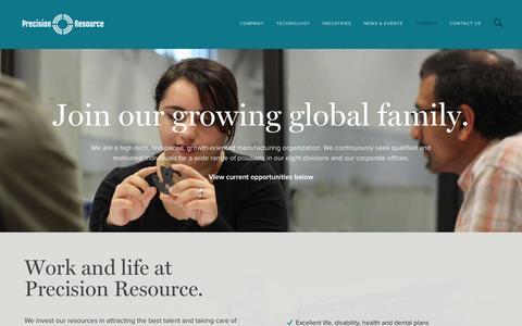 Screenshot of Jobs Page precisionresource.com - Careers - Precision Resource - captured Oct. 3, 2014