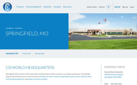 Screenshot of Locations Page csidesigns.com - Locations - Springfield, Missouri | Central States Industrial - captured April 25, 2016