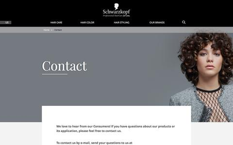 Screenshot of Contact Page schwarzkopf.com - Contact - captured July 18, 2019