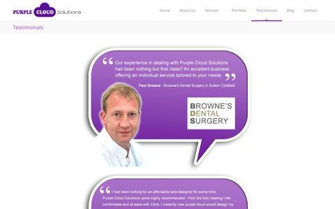Screenshot of Testimonials Page purplecloudsolutions.co.uk - Testimonials   Reviews for Purple Cloud Solutions - captured Sept. 30, 2014