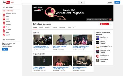 Screenshot of YouTube Page youtube.com - Infectious Magazine  - YouTube - captured Oct. 23, 2014