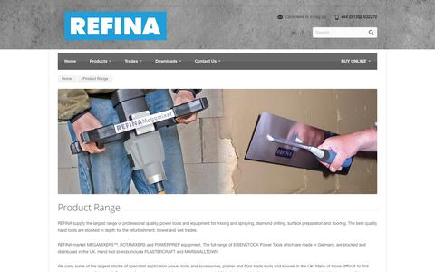 Screenshot of Products Page refina.co.uk - Product Range from Refina - captured Nov. 4, 2014