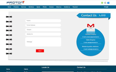 Screenshot of Contact Page protontech.in - Proton : Contact us - captured April 14, 2016