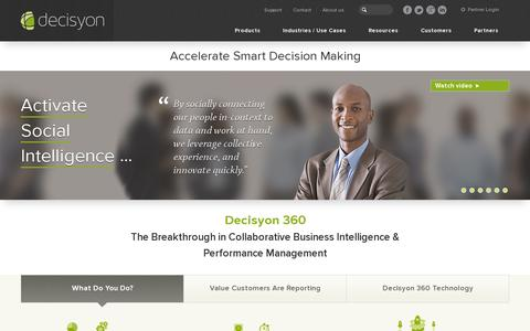 Screenshot of Home Page decisyon.com - Business Intelligence | Performance Management | Decisyon - captured July 11, 2014