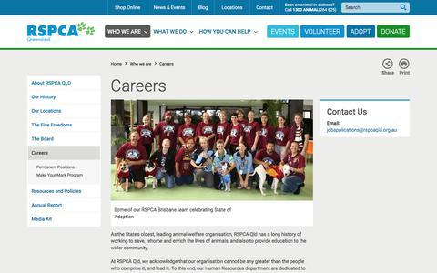 Screenshot of Jobs Page rspcaqld.org.au - Careers   RSPCA Queensland - captured Oct. 23, 2017