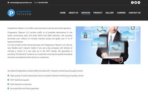 Screenshot of Services Page progressivetele.com - Services – Progressive Telecom LLC. - captured Sept. 9, 2017