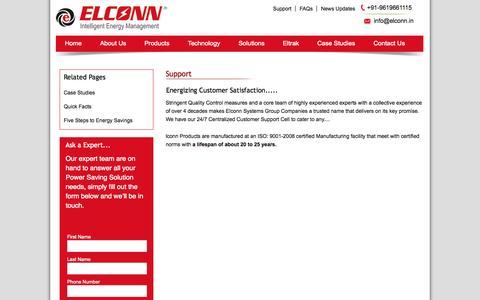 Screenshot of Support Page elconn.in - Elconn intelligent energy management - captured Oct. 2, 2014