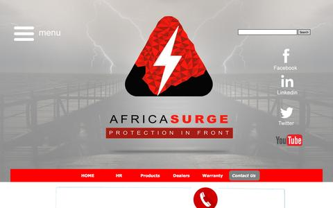 Screenshot of Contact Page africasurge.com - Contact Us - Africa Surge Protection - captured Nov. 20, 2016