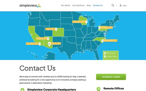 Screenshot of Contact Page simpleviewinc.com - Contact Us | Simpleview Inc. - captured Nov. 4, 2015