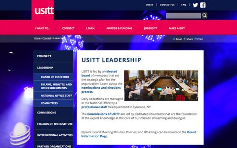 Screenshot of Team Page usitt.org - USITT Leadership - Connect | USITT - captured Jan. 31, 2016