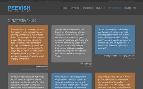 Screenshot of Testimonials Page peevish.co.uk - Peevish Web Design | Client Testimonials - captured Sept. 25, 2018