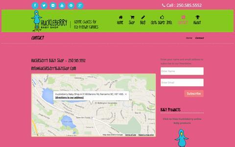 Screenshot of Contact Page huckleberrybabyshop.com - Contact | Huckleberry Baby Shop - captured Sept. 30, 2014
