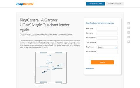 UCaaS Gartner Magic Quadrant 2016 Names RingCentral Leader Again