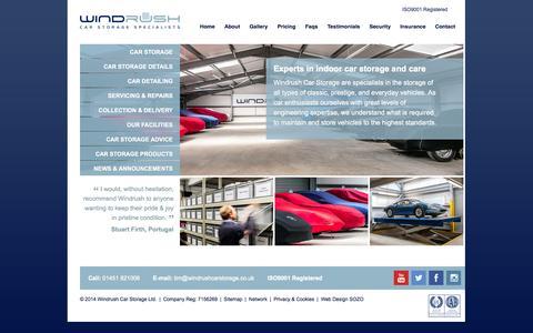 Screenshot of Home Page windrushcarstorage.co.uk - Windrush Car Storage - captured Oct. 8, 2014