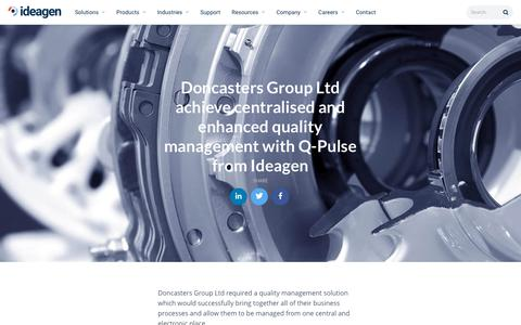 Screenshot of Case Studies Page ideagen.com - Doncasters Group Ltd achieve centralised and enhanced quality management with Q-Pulse from Ideagen | Ideagen Plc - captured Nov. 29, 2019