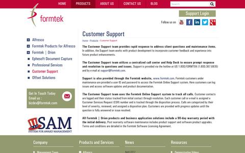 Screenshot of Support Page formtek.com - Quick Customer Support and Services through Hotline and E-mail | formtek - captured May 9, 2017