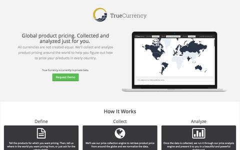 Screenshot of Home Page truecurrency.com - True Currency Analytics - captured Aug. 17, 2015