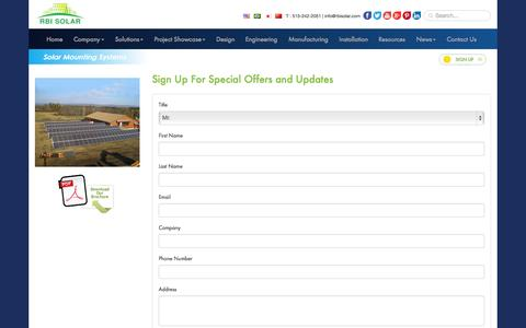 Screenshot of Signup Page rbisolar.com - Sign Up for Best Solar Mounting Solutions by RBI Solar - captured Oct. 20, 2015