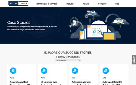 Screenshot of Case Studies Page royalcyber.com - Case Studies | Explore All of Our Case Studies | Royal Cyber - captured May 3, 2018