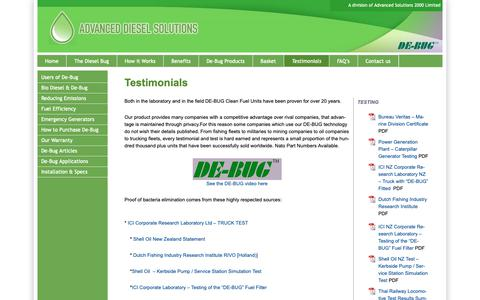 Screenshot of Testimonials Page dieselsolutions.co.nz - Testimonials - Fix Diesel Bug in Magnetic Diesel Filter - using DE-BUG - captured Nov. 12, 2018