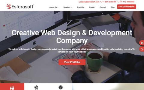 Screenshot of Home Page esferasoft.com - Best Web Design & Development Company in India - Esferasoft - captured Dec. 12, 2018