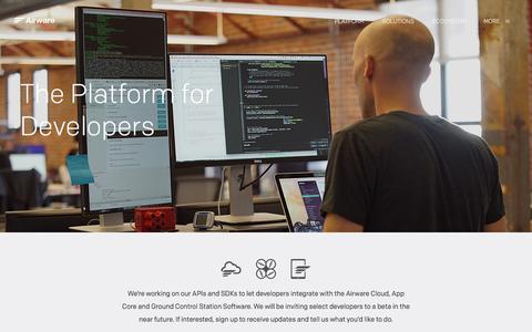 Screenshot of Developers Page airware.com - Airware for Developers | Airware - captured Nov. 23, 2015