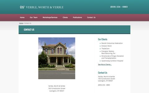 Screenshot of Contact Page verbleworthverble.com - Contact Us - Verble Worth & Verble - captured Oct. 26, 2014