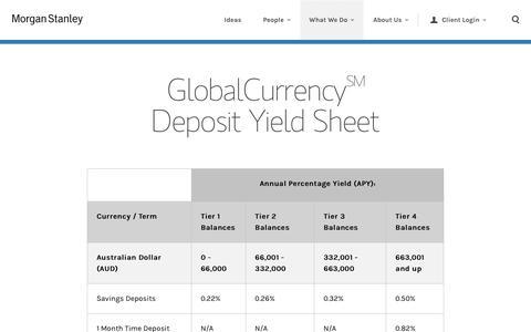 GlobalCurrency Deposit Yield Sheet