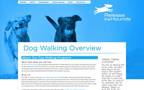Screenshot of Services Page releasethehounds.ca - Vancouver Dog Walking Services Overview: Release The Hounds - captured Nov. 3, 2014