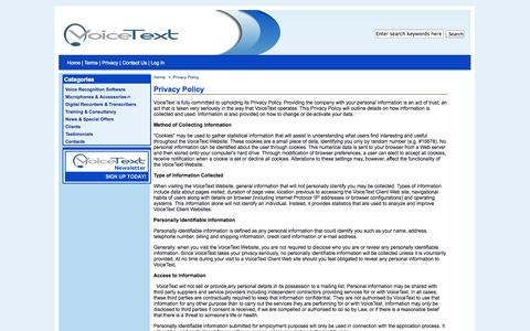 Screenshot of Privacy Page voicetext.co.uk - Privacy Policy : Voicetext - captured Oct. 9, 2014