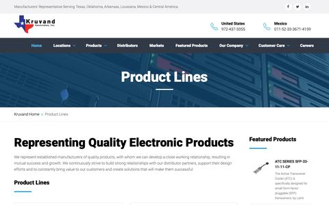 Screenshot of Products Page kruvand.com - Product Lines - captured Oct. 16, 2018