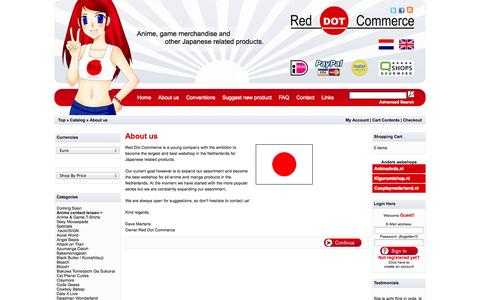 Screenshot of About Page reddotcommerce.nl - Red Dot Commerce - Anime and Gaming merchandise - captured Sept. 30, 2014
