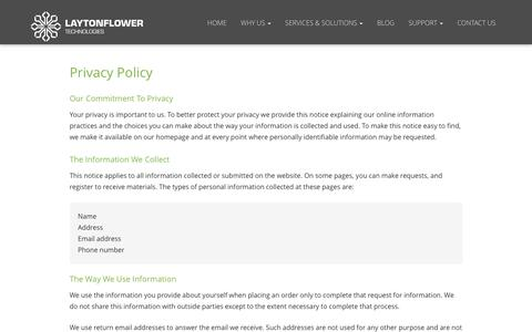 Screenshot of Privacy Page laytonflower.com - Privacy Policy - Council Bluffs, IA, Omaha, Bellevue, NE | Layton Flower Technologies, LLC. - captured Nov. 4, 2016