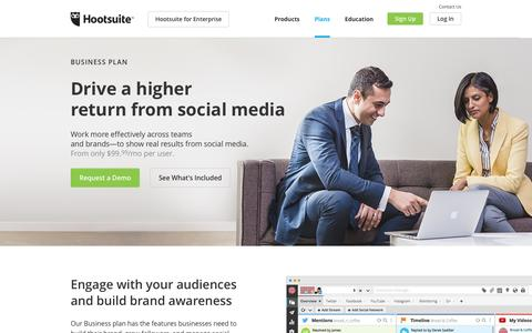 Screenshot of Trial Page hootsuite.com - Hootsuite Business Plan - captured Aug. 24, 2016