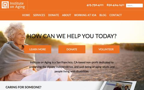 Screenshot of Home Page ioaging.org - Institute on Aging | Senior Home Care Services, Day Clubs & Resources - captured Feb. 11, 2016
