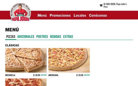 Screenshot of Menu Page papajohns.com.pe - Menú - Papa John's PeruPapa John's Peru - captured Oct. 6, 2017
