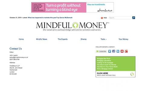 Screenshot of Contact Page mindfulmoney.co.uk - Contact Us  | Mindful Money - captured Oct. 21, 2019