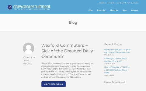 Screenshot of Blog chevronrecruitment.ie - Jobs Ireland | Chevron Recruitment - captured Dec. 4, 2017