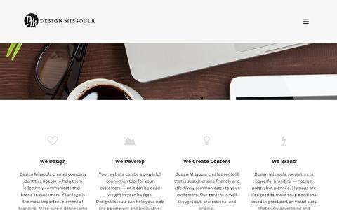 Screenshot of Services Page designmissoula.com - Services - Design Missoula - captured April 14, 2018