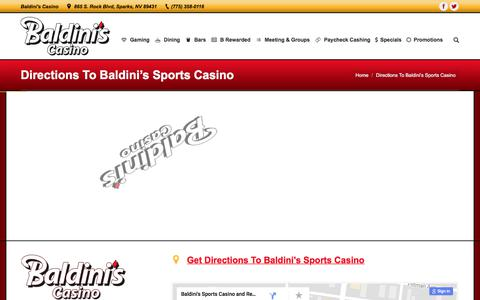 Screenshot of Maps & Directions Page baldinissports.com - Directions To Baldini's Sports Casino – Baldini's Sports Casino - captured Oct. 9, 2017