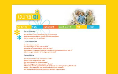 Screenshot of FAQ Page cashvaluecard.com - Curenci - captured Sept. 13, 2014