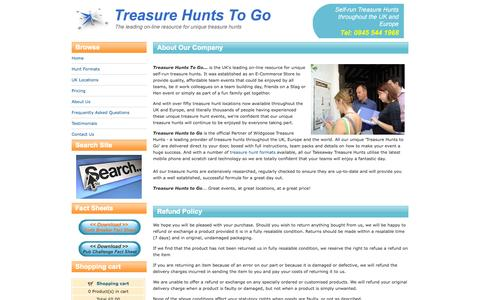 Screenshot of About Page Privacy Page Terms Page treasurehuntstogo.com - Unique Treasure Hunts throughout the UK and Europe - captured Oct. 25, 2014