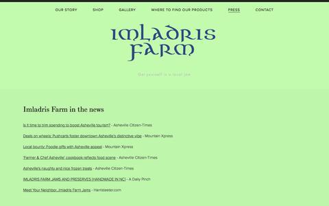 Screenshot of Press Page imladrisfarm.com - Press — Imladris Farm - captured July 2, 2018