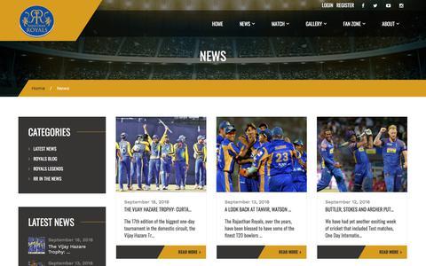 Screenshot of Press Page rajasthanroyals.com - News – Rajasthan Royals - captured Sept. 20, 2018